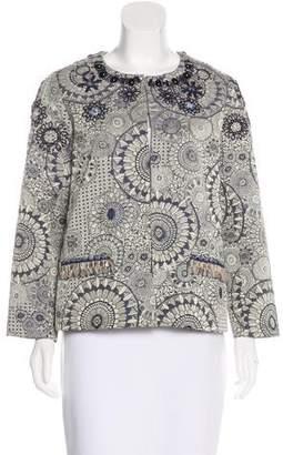 Lela Rose Embroidered Jacquard Jacket