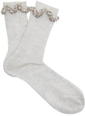 Raey Embellished Ric Rac Silk Socks - Womens - Ivory