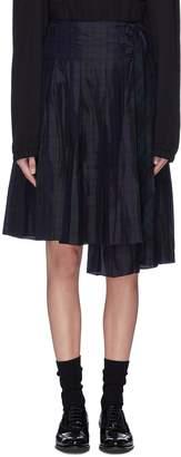 MS MIN Tartan plaid staggered pleated skirt