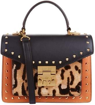 MCM Patricia Leopard Panel Satchel Bag