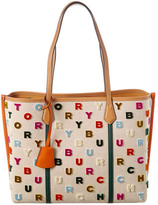 Tory Burch Perry Fil Coupe Triple Compartment Canvas Tote