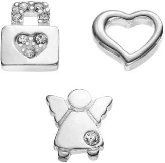 Angel Heart Blue La Rue Crystal Silver-Plated Heart, Angel & Heart Lock Charm Set