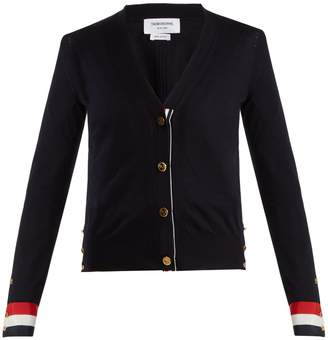 Thom Browne V-neck striped-detail wool cardigan