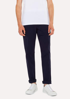 Paul Smith Men's Tapered-Fit Dark Navy Stretch Pima-Cotton Chinos