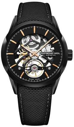 Raymond Weil Freelancer Skeleton Automatic Leather Strap Watch, 43mm