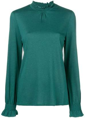 Closed smocked stand-up collar blouse