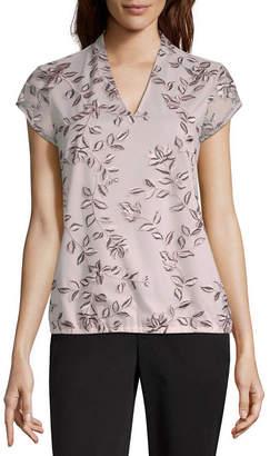 Liz Claiborne Womens V Neck Short Sleeve Knit Embroidered Blouse