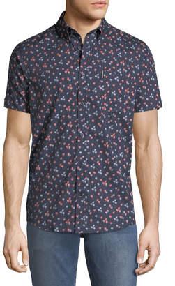 Ben Sherman Men's Palm-Tree Short-Sleeve Sport Shirt