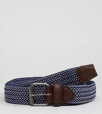 Asos DESIGN Plus Wide Woven Belt In Navy And White