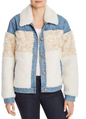 Rebecca Taylor Faux-Fur & Denim Jacket