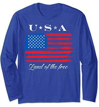 Land of the Free Distressed American Flag Long Sleeve Tee