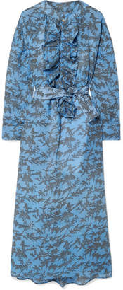 Yvonne S - Ruffled Printed Linen Midi Dress - Light blue