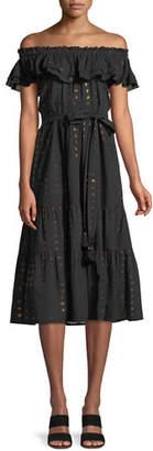 Figue Brynn Off-the-Shoulder Metallic-Heart A-Line Dress