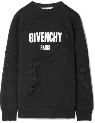 Givenchy Oversized Distressed Printed French Cotton-terry Sweatshirt - Black