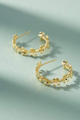 Anthropologie Chain of Flowers Hoop Earrings