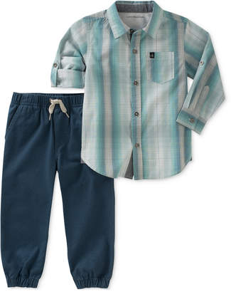 Calvin Klein 2-Pc. Striped Cotton Shirt & Jogger Pants Set, Baby Boys