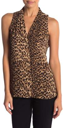 Vince Camuto Leopard Print Sleeveless Blouse (Petite)