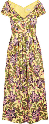 REDValentino - Pleated Floral-print Cotton-blend Midi Dress - Yellow $895 thestylecure.com