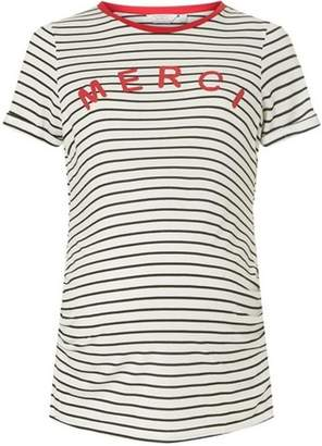 Dorothy Perkins Womens **Maternity Ivory Striped 'Merci' Slogan T-Shirt