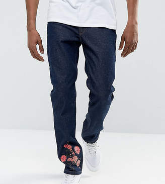 Hype Slim Jeans In Blue With Floral Embroidery