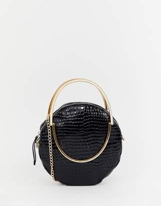 Missguided gold detailing croc bag in black