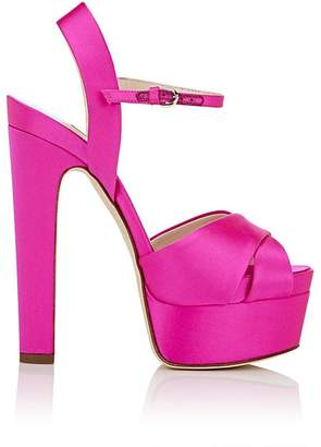 Brian Atwood WOMEN'S MADISON SATIN PLATFORM SANDALS