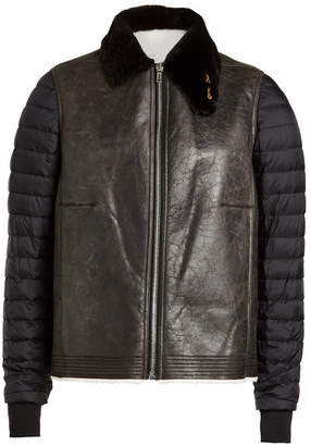 Rick Owens Shearling Jacket with Padded Sleeves