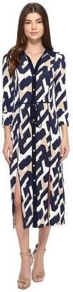 Laundry by Shelli Segal Long Printed Shirtdress w/ Slits Women's Dress