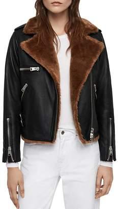 AllSaints Higgens Faux Fur-Lined Leather Biker Jacket