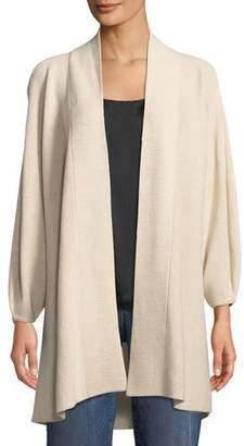 Eileen Fisher Merino Ribbed Bracelet-Sleeve Cardigan