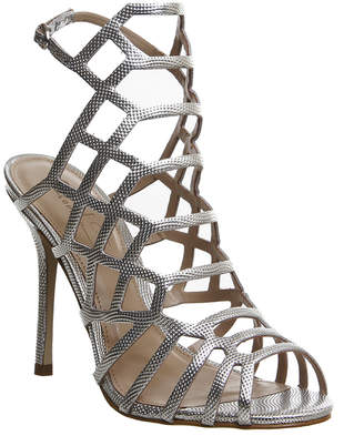 Office Trance Caged Heels Silver Leather