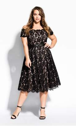 City Chic Citychic Lace Dreams Dress - navy