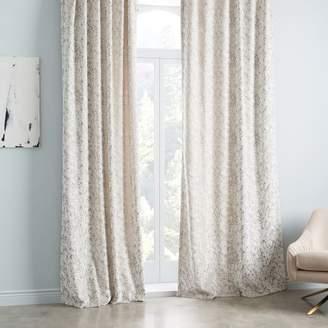 west elm Allover Textured Jacquard Velvet Curtain - Fog