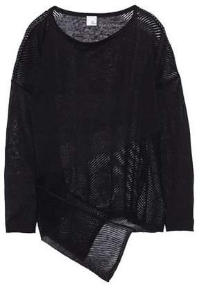Iris & Ink Izzy Asymmetric Open Knit-Paneled Slub Linen-Blend Top