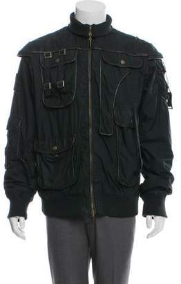 Just Cavalli Leather-Trimmed Utility Jacket