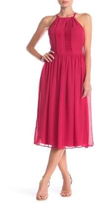 Nicole Miller Studio Halter Pleated Midi Dress