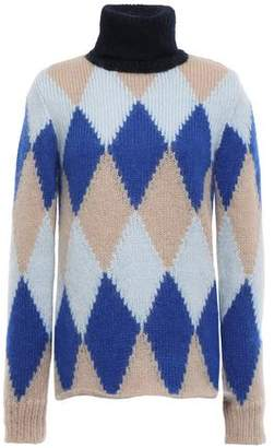 Tory Burch Argyle Intarsia-knit Turtleneck Sweater