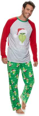 """Dr. Seuss Men's Jammies For Your Families How the Grinch Stole Christmas Grinch """"Merry Whatever"""" Top & Microfleece Bottoms Pajama Set"""