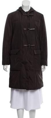 Prada Knee-Length Hooded Coat Black Knee-Length Hooded Coat