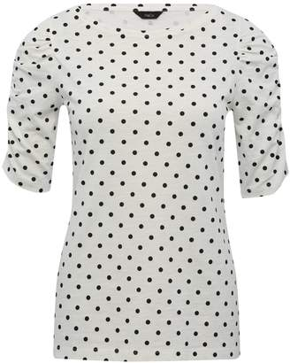 M&Co Spot print ruched sleeve top