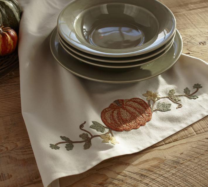 Pottery Barn Pumpkin Embroidered Tea Towel
