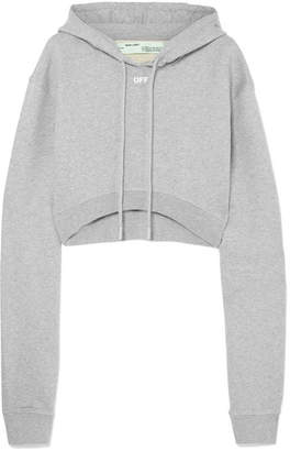 929052763418 ... Off-White Cropped Mélange Cotton-jersey Hooded Top - Gray