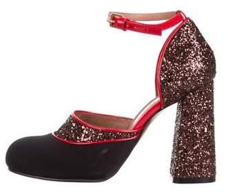 Marni Glitter Ankle-Strap Pumps