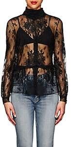 Balenciaga Women's Lace Scarf-Neck Peplum Blouse - Black