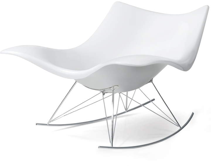 Fredericia Furniture A/S Fredericia - Stingray Schaukelstuhl, Weiß / Chrom