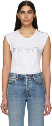 Balmain White Buttoned Logo Sleeveless T-Shirt