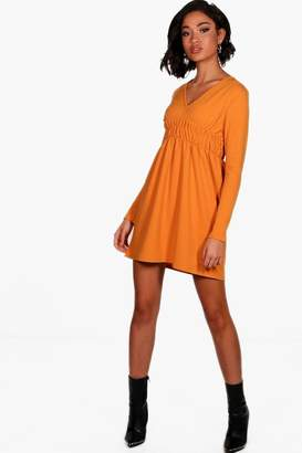 boohoo Tamara Triple Shirred Waist Skater Dress