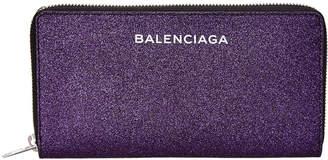 Balenciaga Glitter Essential Continental Zip Around Wallet