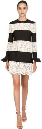 Valentino Striped Wool & Silk Lace Dress
