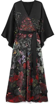 MENG - Floral-print Silk-satin Robe - Black